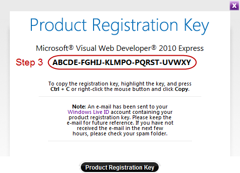 microsoft visual studio web developer 2010 express registration key